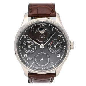 IWC Black 18K White Gold Portuguese Perpetual Calendar Moon Phase IW5023-03 Men's Wristwatch 44 MM