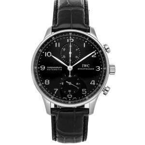 IWC Black Stainless Steel Portugieser Chronograph IW3714-38 Men's Wristwatch 40 MM