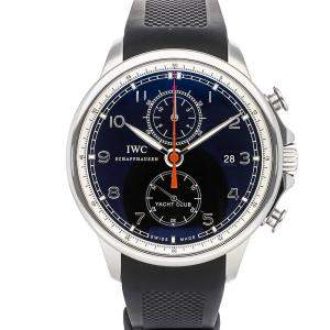 IWC Black Stainless Steel Portuguese Yacht Club Chronograph IW3902-10 Men's Wristwatch 45 MM