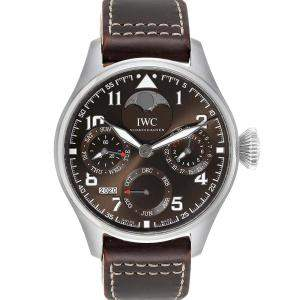 IWC Brown Stainless Steel Big Pilot Prepetual Calendar IW503801 Men's Wristwatch 46 MM