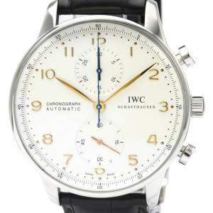 IWC Silver Stainless Steel Portugieser Chronograph Automatic IW371445 Men's Wristwatch 41 MM