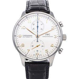 IWC Silver Stainless Steel Portugieser Chronograph IW3714-45 Men's Wristwatch 41 MM