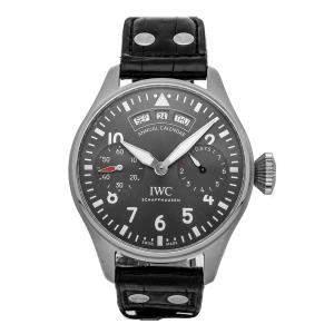 IWC Gray Stainless Steel Pilot's Annual Calendar Spitfire IW5027-02 Men's Wristwatch 46 MM