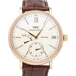 """ساعة يد رجالية آي دبليو سي """"بورتوفينو هاند-ووند 8 أيام آي دبليو5101-07"""" ذهب وردي عيار 18 فضية 45 مم"""