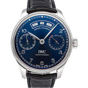 IWC Blue Stainless Steel Portugieser Annual Calendar IW5035-02 Men's Wristwatch 44 MM