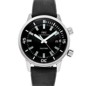 ساعة يد رجالية أي دبليو سي ستانلس ستيل ومطاط فينتدج أكواتايمر أوتوماتيك IW3231-01 سوداء 44 مم