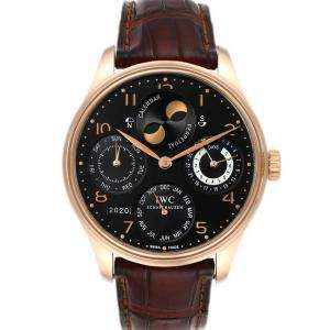 IWC Black 18K Rose Gold Portuguese Perpetual Calendar Moonphase IW503202 Men's Wristwatch 44 MM