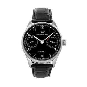 IWC Black Stainless Steel Portugieser 7 Day IW5001-09 Men's Wristwatch 42 MM