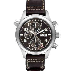 IWC Brown Stainless Steel Spitfire Pilot Saint Exupery Rattrapante IW371808 Men's Wristwatch 44 MM