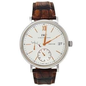 IWC Schaffhausen Silver Stainless Steel Alligator Leather Portofino IW510103 Men's Wristwatch 45 mm