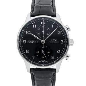 IWC Black Stainless Steel Portugieser Chronograph IW3714-47 Men's Wristwatch 40 MM