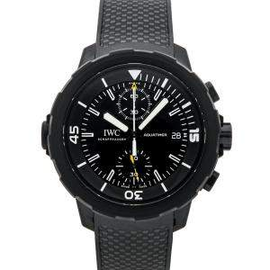 """IWC Black Rubber Coated Stainless Steel Aquatimer Chronograph Edition """"Galapagos Islands"""" IW3795-02 Men's Wristwatch 45 MM"""
