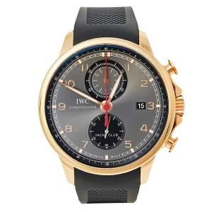 IWC Schaffhausen Grey 18K Rose Gold Rubber Portugieser Yacht Club IW390209 Men's Wristwatch 45.40 MM