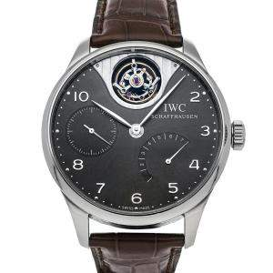 IWC Grey 18K White Gold Portuguese Troubillon Mystere Limited Edition IW5042-07 Men's Wristwatch 44 MM