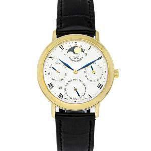 IWC Silver 18K Yellow Gold Romana Perpetual Calendar IW2050-03 Men's Wristwatch 36 MM