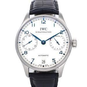 IWC Silver Stainless Steel Portugieser 7 Day IW5001-07 Men's Wristwatch 42 MM