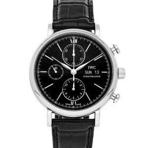IWC Black Stainless Steel Portofino Chronograph IW3910-08 Men's Wristwatch 42 MM