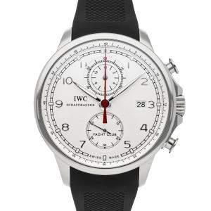 IWC Silver Stainless Steel Portugieser Yacht Club Chronograph IW3902-06 Men's Wristwatch 45.5 MM