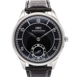 "IWC Black Stainless Steel ""Vintage"" Portuguese IW5445-01 Men's Wristwatch 44 MM"