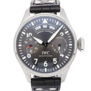 IWC Grey Stainless Steel Big Pilot's Watch Annual Calendar Spitfire IW5027-02 Men's Wristwatch 46 MM