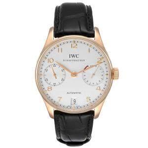 IWC Silver 18k Rose Gold Portuguese Chrono 7 Day IW500004 Men's Wristwatch 42 MM