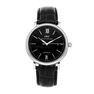 IWC Black Stainless Steel Portofino IW3565-02 Men's Wristwatch 40 MM