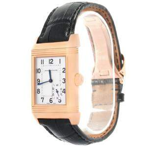 Jaeger LeCoultre Silver 18K Rose Gold Reverso Grande Reserve Men's Wristwatch 29MM