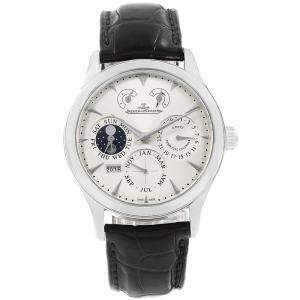 Jaeger LeCoultre Silver Stainless Steel Master 8 Days Perpetual Calendar Men's Wristwatch 40MM