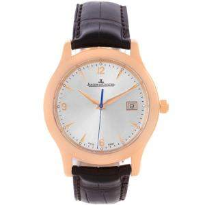 Jaeger Lecoultre Silver 18K Rose Gold Master Control Men's Wristwatch 40MM