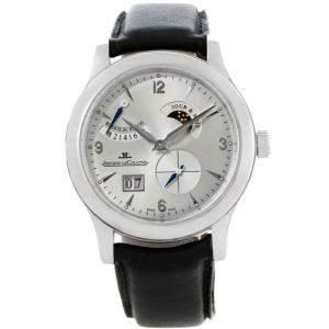 Jaeger LeCoultre Satin Silver Stainless Steel Reserve De Marche 8 Days Men's Wristwatch 41.5MM