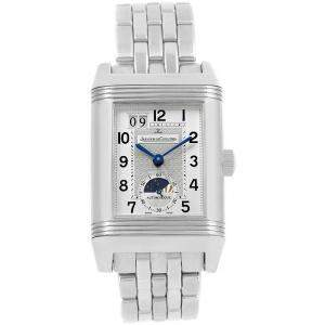 Jaeger LeCoultre Silver Stainless Steel Grande Reverso Date 240.8.72 Q3038420 Men's Wristwatch 29MM