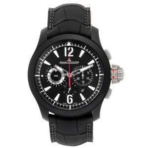 Jaeger Lecoultre Black Stainless Steel and Leather Master Compressor Ceramic Q204C470 Men's Wristwatch 44MM