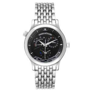 Jaeger Lecoultre Black Stainless Steel Master Geographic 142.8.92.S Q1428170 Men's Wristwatch 39 MM.