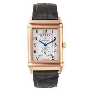 Jaeger LeCoultre Silver 18K Rose Gold Grande Reverso Duodate 273.2.85 Q3742521 Men's Wristwatch 48.5 x 29.5 MM