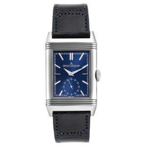Jaeger LeCoultre Blue Stainless Steel Reverso Tribute 214.8.62 Men's Wristwatch  45 x 27 M