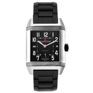 Jaeger LeCoultre Black Stainless Steel Reverso Squadra Hometime 230.8.77 Q700867P Men's Wristwatch 35 x 50 MM