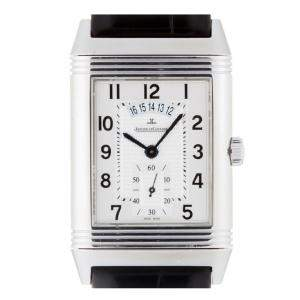 Jaeger Lecoultre Silver Stainless Steel Grand Reverso Duo Night & Day Q3748421 273.8.85 Men's Wristwatch 30 MM