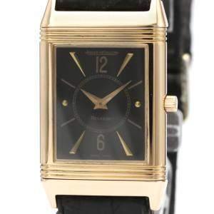 """ساعة يد رجالية ياجر لي كولتر """"ريفيرسو ميكانيكال 250.2.86"""" ذهب وردي عيار 18 سوداء 23 مم"""