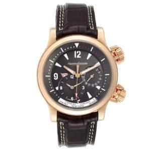 Jaeger Lecoultre Black 18K Rose Gold Master Compressor World Time 146.2.83 Men's Wristwatch 42 MM