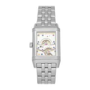 Jaeger-LeCoultre Silver Stainless Steel Reverso Grande Date Q3008120 Men's Wristwatch 47 x 29 MM