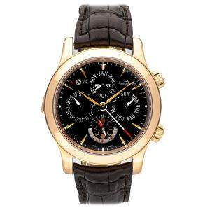 Jaeger-Lecoultre Black 18K Rose Gold Master Grand Reveil Q163247A Men's Wristwatch 43 MM