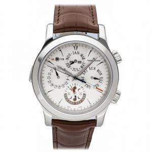 Jaeger-Lecoultre Silver Stainless Steel Master Grande Reveil Perpetual Calendar Moonphase Q163842A Men's Wristwatch 43 MM