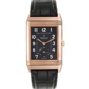 """ساعة يد رجالية ياجر لي كولتر """"غراند ريفيرسو 976 273.2.04 كيو3732470"""" ذهب وردي عيار 18 سوداء 48.5 x 30 مم"""