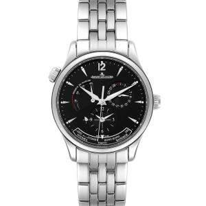 """ساعة يد رجالية ياجر لي كولتر """"ماستر جيوغرافيك 176.8.29.أس كيو1428171"""" ستانلس ستيل سوداء 39 مم"""