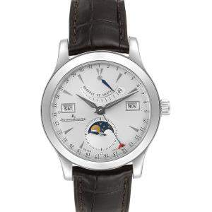 Jaeger Lecoultre Silver Stainless Steel Master Calendar Moonphase 147.8.41.S Men's Wristwatch 39 MM