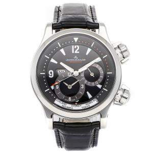 Jaeger LeCoultre Black Stainless Steel Master Compressor Geographic Q1718470 Men's Wristwatch 41.5 MM