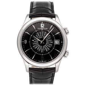 Jaeger LeCoultre Black Stainless Steel Master Memovox International Q1418471 Men's Wristwatch 40 MM