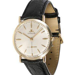 Jaeger Lecoultre Silver 14k Yellow Gold Dress 196 Men's Wristwatch 33 MM