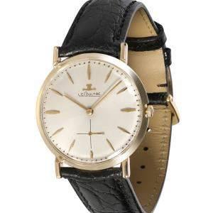 ساعة يد رجالية ياجر لي كولتر دريس 196  ذهب أصفر عيار 14 فضية 33مم