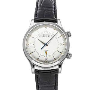 Jaeger LeCoultre Silver Stainless Steel Master Memovox Alarm Q1448170 Men's Wristwatch 36 MM